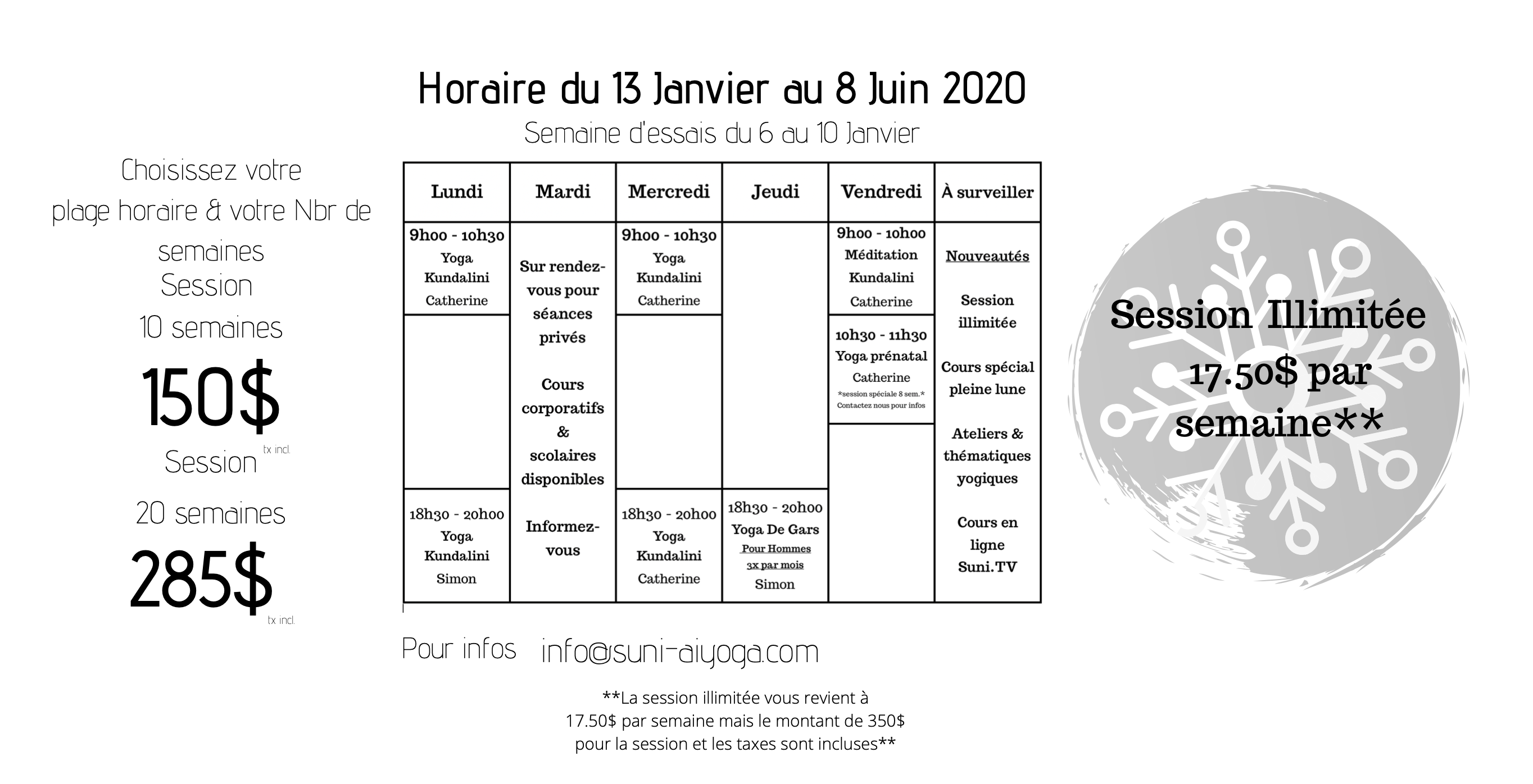 Horaire hiver 2020